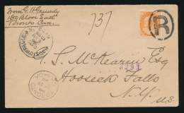 Canada #82 Cvr 1898 8c Orange QV Numeral On Cross Border Registered Cover, Mailed From Toronto... - 1851-1902 Reign Of Victoria