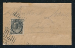 Canada #74 Cvr 1898 ½c Black QV Numeral Single On Wrapper, Mailed In Toronto (roller Cancel... - 1851-1902 Reign Of Victoria