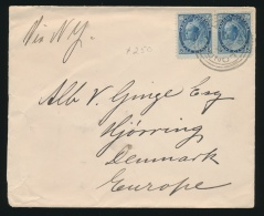 Canada #70 Cvr 1900 5c QV Numeral London Ont. To Denmark,  Franked With A Horizontal Pair Of 5c... - 1851-1902 Reign Of Victoria