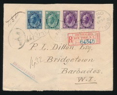 Canada #67, 68, 70 Cvr 1898 Registered QV Leaf Cover To Barbados, Franked With Fresh Copies Of 1c,... - 1851-1902 Reign Of Victoria