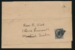 Canada #66 Cvr 1898 ½c Black QV Leaf Single On Wrapper, Handstamped In Purple Sample Copy... - 1851-1902 Reign Of Victoria