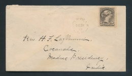 Canada #42 Cvr 1897 5c U.P.U. Rate Cover To India, Franked With A 5c Gray Small Queen Cancelled By... - 1851-1902 Reign Of Victoria