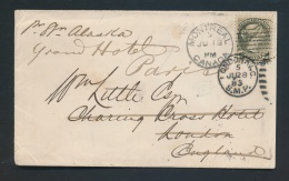 Canada #38 Cvr 1883 5c U.P.U. Rate Cover To England, Re-Directed To France, Franked With 5c Olive... - 1851-1902 Reign Of Victoria
