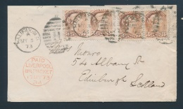 Canada #37 Cvr 1873 12c Double Weight Pre-U.P.U. Rate Cover To Scotland, Franked With Four 3c... - 1851-1902 Reign Of Victoria