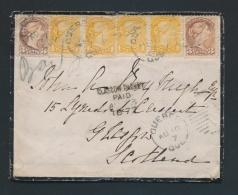 Canada #35vii, 37ii, Cvr 1877 10c Pre-U.P.U. Double Weight Cover To Scotland, Mourning Cover... - 1851-1902 Reign Of Victoria