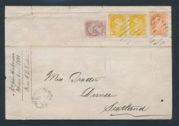 Canada #35, 37, 40 Cvr 1881 Triple Rate U.P.U. Cover To Scotland With Attractive Three Colour... - 1851-1902 Reign Of Victoria