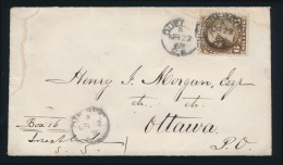 Canada #27 Cvr 1869 6c Dark Brown Large Queen On Cover, Mailed Québec City On MAR.22.1869... - 1851-1902 Reign Of Victoria