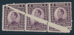 Yugoslavia #4 * 1921 15p Violet King Alexander Strip Of 3 With Paper Fold. Large Diagonal Paper... - Cinderellas