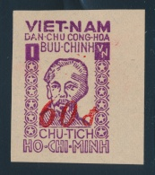 South Vietnam #6 (Michel) (*) 1952 60d On 1(d) Ho Chi Minh Surcharge In Red, Imperforate, Unused... - Vietnam