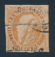 Mexico #33 O 1866 25c Orange Brown Emperor Maximilian With Paper Fold Splitting His Head. Nice... - Mexico