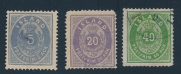 Iceland #9, 12, 13 O 1876 Group Of Three First Designs, With #9 (unused But Thinned), #13 (appears... - Unclassified