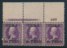 Cuba #224 ** 1899 3p On 2c Surcharged On US Stamp, Mint Never Hinged Plate Strip Of Three, With... - Cuba
