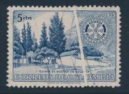 Colombia #639 O 1955 5c Deep Ultra Rotary International Anniversary With Paper Fold. Used Light... - Colombia