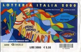LOTTERIA ITALIA 2000  Estrazione 6 Gennaio 2001 Abbinato A Carramba Che Fortuna  Raffaella Carrà - Biglietti Della Lotteria