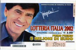 LOTTERIA ITALIA 2002  Estrazione 6 Gennaio 2003 Abbinato A Uno Di Noi  Gianni Morandi - Biglietti Della Lotteria