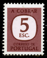 !■■■■■ds■■ Portugal Postage Due 1967 AF#76(*) A Cobrar 5$00 VARIETY THICK (d11046) - Neufs