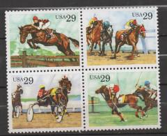 Q110 . USA. 1993 . SCOTT #: 2756-59a - MNH - SPORTING HORSES . SCV: US$ 4.00 - Cavalli