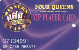 Four Queens Casino Las Vegas, NV -  Slot Card - PPC Over Wider Text On Back - $5 Cash Rebate - Casino Cards