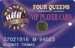Four Queens Casino Las Vegas, NV -  Slot Card - PPC / Narrow Text On Back - Club 55 Sticker - Casino Cards