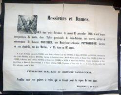 45 ORLEANS   AFFICHE PLACARD MORTUAIRE MADAME FOUCHER NEE FITZGIBBON 13 NOVEMBRE 1866 - Décès