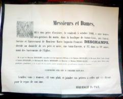 45 ORLEANS   AFFICHE PLACARD MORTUAIRE  DESCHAMPS 5 OCTOBRE 1866 - Décès