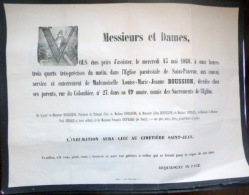 45 ORLEANS   AFFICHE PLACARD MORTUAIRE LOUISE MARIE JEANNE BOUSSION 13 MAI 1868 - Décès