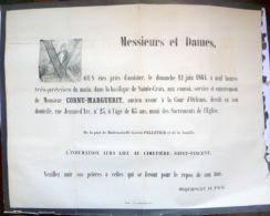 45 ORLEANS   AFFICHE PLACARD MORTUAIRE  CORNU MARGUERIT  ANCIEN AVOUE  12 JUIN 1864 - Décès