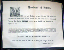 45 ORLEANS   AFFICHE PLACARD MORTUAIRE JEAN BAPTISTE MORAND 18 AOUT 1863 - Décès