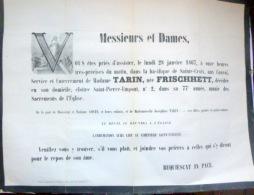 45 ORLEANS   AFFICHE PLACARD MORTUAIRE MADAME TARIN NEE FRISCHETT 28 JANVIER 1867 - Décès