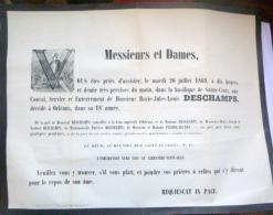 45 ORLEANS   AFFICHE PLACARD MORTUAIRE MARIE JULES LOUIS DESCHAMPS  20 JUILLET 1869 - Décès