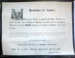45 ORLEANS   AFFICHE PLACARD MORTUAIRE MADEMOISELLE ANNE JULIE PROUST  23 JUIN 1866 - Décès