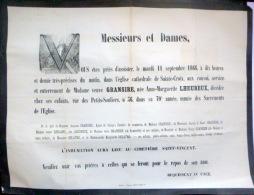 45 ORLEANS   AFFICHE PLACARD MORTUAIRE MADAME GRANSIRE NEE LHEUREUX  11 SEPTEMBRE 1866 - Décès