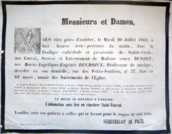45 ORLEANS   AFFICHE PLACARD MORTUAIRE  MADAME BENOIST NEE DUCROICY  20 JUILLET 1869 - Décès