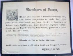 45 ORLEANS   AFFICHE PLACARD MORTUAIRE  MADAME TONDU NEE COSTE  9 DECEMBRE 1864 - Décès