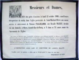 45 ORLEANS   AFFICHE PLACARD MORTUAIRE  MADAME FALIGAND  NEE MAZERY 22 OCTOBRE 1866 - Décès