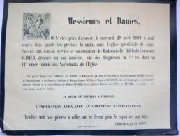45 ORLEANS   AFFICHE PLACARD MORTUAIRE  MADEMOISELLE ADELAIDE CONSTANCE OLIVIER 28 AVRIL 1869 - Décès