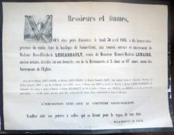 45 ORLEANS   AFFICHE PLACARD MORTUAIRE  MADAME  LESCARBAULT  VEUVE LEMAIRE  30 AVRIL 1866 - Décès
