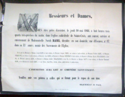 45 ORLEANS   AFFICHE PLACARD MORTUAIRE  MADEMOISELLE SARAH BANS  10 MAI 1866 - Décès