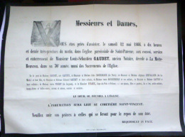45 ORLEANS   AFFICHE PLACARD MORTUAIRE LOUIS SEBASTIEN GAUDET 12 MAI 1866 - Décès