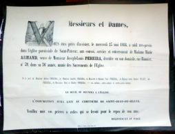 45 ORLEANS   AFFICHE PLACARD MORTUAIRE MADAME MARIE ARMAND VEUVE PEREIRA  23 MAI 1866 - Décès
