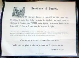 45 ORLEANS   AFFICHE PLACARD MORTUAIRE  ALBIN PEYROT  ANCIEN NEGOCIANT 15 JUIN 1866 - Décès
