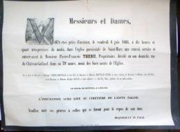 45 ORLEANS   AFFICHE PLACARD MORTUAIRE  PIERRE FRANCOIS  THENU  PROPRIETAIRE  8 JUIN 1866 - Décès
