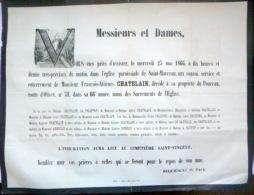 45 ORLEANS   AFFICHE PLACARD MORTUAIRE  FRANCOIS ANTOINE CHATELAIN  23 MAI 1866 - Décès