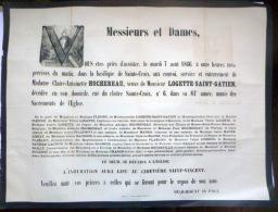 45 ORLEANS   AFFICHE PLACARD MORTUAIRE MADAME CLAIRE ANTOINETTE HOCHEREAU VEUVE LOGETTE SAINT GATIEN 7 AOUT 1866 - Décès