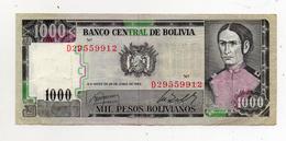 Bolivia - 1982 - Banconota Da 1000 Pesos Boliviani - Usata - (FDC599) - Bolivia