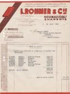 Facture 30/3/1939 L ROHMER & Cie Tuilerie Briqueterie ROUMAZIERES Charente - 1900 – 1949