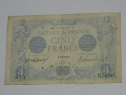 5 Francs - Cinq Francs Bleu - Type 1905 - Novembre 1916 ( Sagitaire ) ***** EN ACHAT IMMEDIAT **** - 1871-1952 Anciens Francs Circulés Au XXème