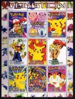 Personnages Pokemon - Feuillet De 9 Val Neufs // Mnh - Kino