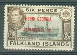 Falkland Islands Dep: 1944/45   KGVI ´South Georgia´ OVPT    SG B6    6d      MH - Falklandinseln