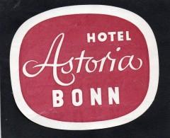 VIEILLE ETIQUETTE HOTEL ASTORIA BONN ALLEMAGNE VINTAGE LUGGAGE LABEL - Hotel Labels